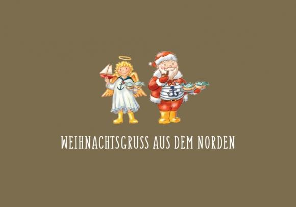Doppelkarte: Weihnachtsgruß aus dem Norden - Christkind