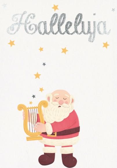 Doppelkarte: Halleluja - Weihnachtsmann mit Laute
