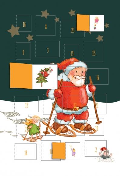 Adventskalender-Doppelkarte: Weihnachtsmann mit Schneeschuhen