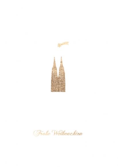 Doppelkarte: Frohe Weihnachten - Kölner Dom