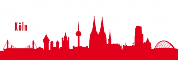 Autoaufkleber Köln Skyline rot