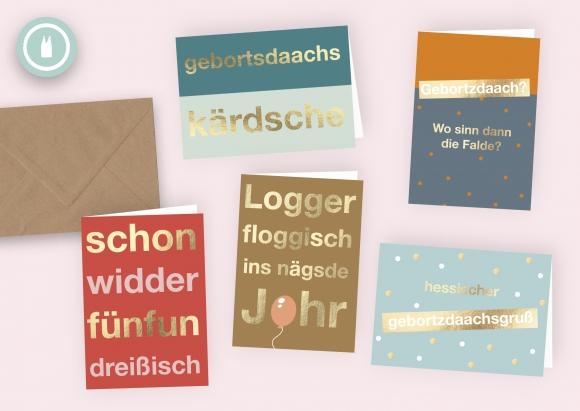 hessische gebortsdaachskärdsche * Set 5 Doppelkarten mit Umschlägen