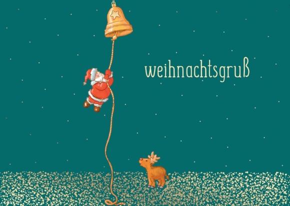 Doppelkarte: Weihnachtsgruß - Weihnachtsmann und Glocke