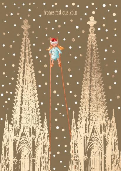 Doppelkarte: Frohes Fest aus Köln - Weihnachtsmann auf Stelzen